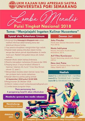 Lomba Menulis Puisi Tingkat Nasional 2018 di Universitas PGRI Semarang