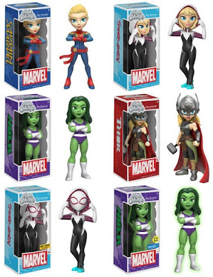 Marvel Comics Rock Candy Wave 1 Vinyl Figures by Funko - Captain Marvel, Spider-Gwen, She-Hulk & Thor