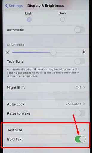 enable bold text iphone