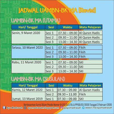 Revisi Jadwal UAMBN-BK MA 2020