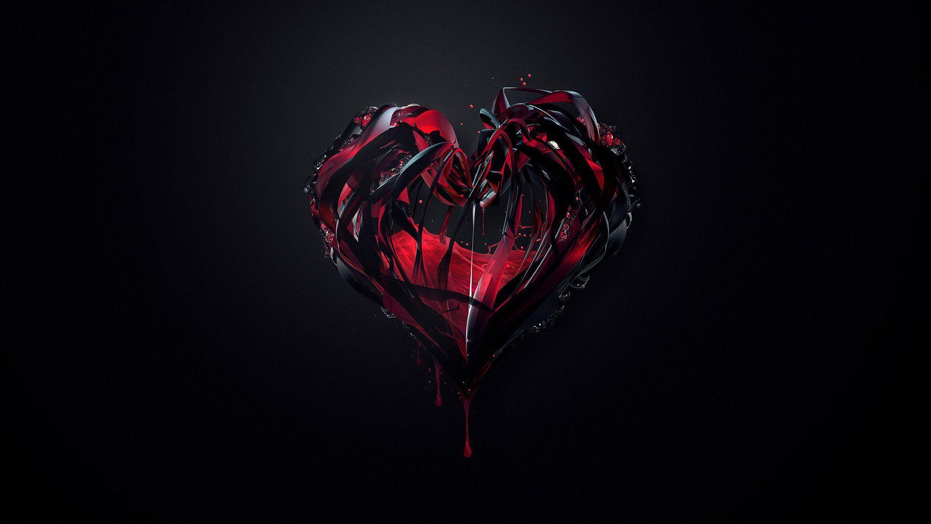 Full Size Black and red love hearts wallpaper hd, black wallpaper 4k