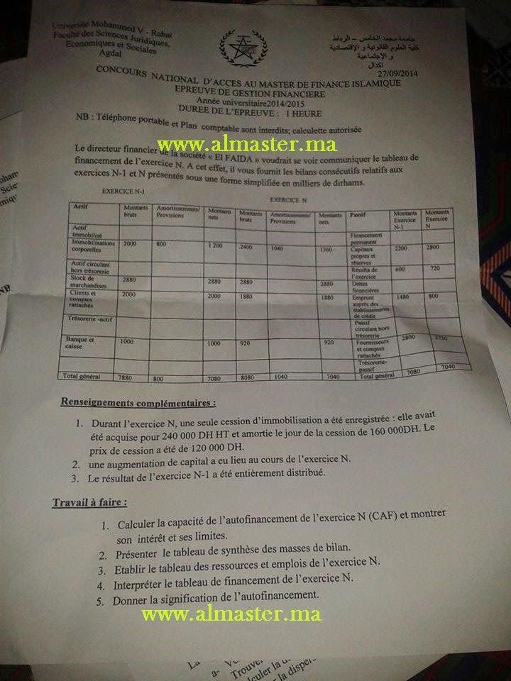 exemple concours d u0026 39 acc u00e8s au master de finance islamique