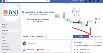 halaman facebook bni untuk cek sisa angsuran