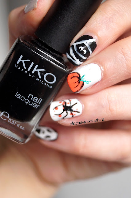 nail art halloween citrouille