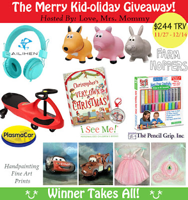 Enter the  The Merry Kid-oliday Giveaway. Ends 12/14