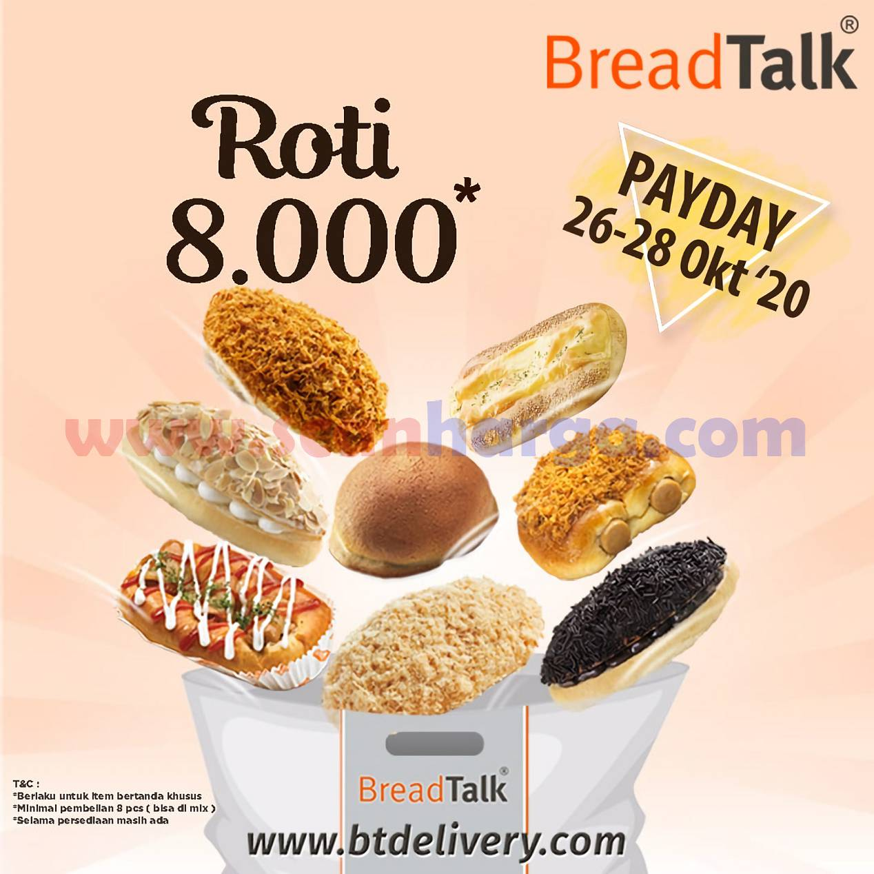 Promo BREADTALK PAYDAY harga Roti Cuma Rp 8.000*