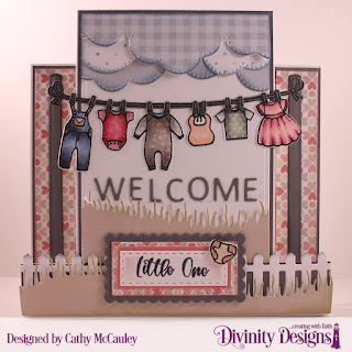 Stamp/Die Duos: Baby Clothesline, Paper Collections: Baby Girl, Baby Boy, Custom Dies: Center Step with Layers, Cloud Borders, Bountiful Basket (for the clothesline poles), Fence, Grass Hill, Scalloped Rectangles, Pierced Rectangles, Double Stitched Rectangles