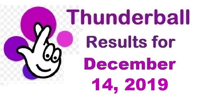 Thunderball Results for Saturday, December 14, 2019