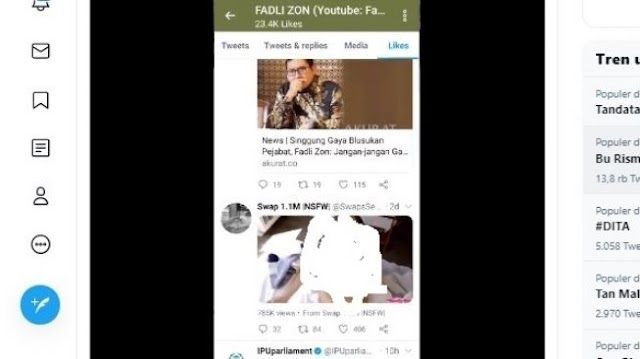 Abu Janda Pergoki Twitter Fadli Zon Like Akun Porno