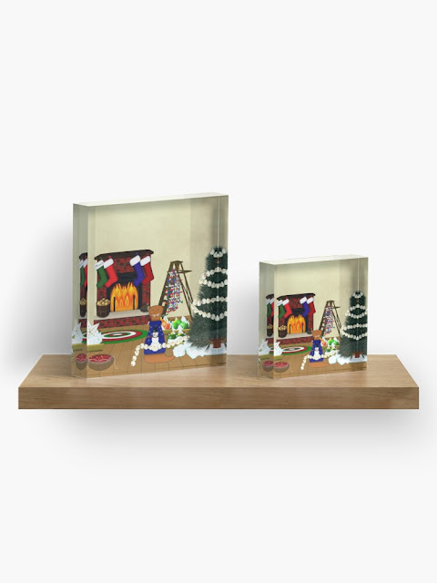 Oliver Decorates for Christmas Acrylic Block