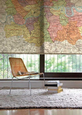 world map curtains and blinds for windows, world map decor in the interior, world map art