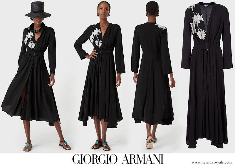 Meghan Markle wore GIORGIO ARMANI Long triple silk georgette dress