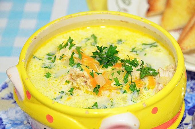 Суп с сырно-сливочными клецками