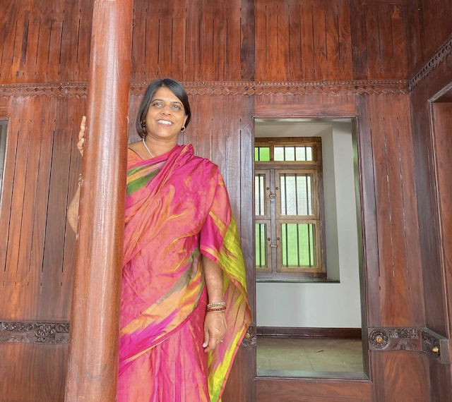 Madavi Oliver, the Founder of Mayil Scarves stands in Tamil Nadu