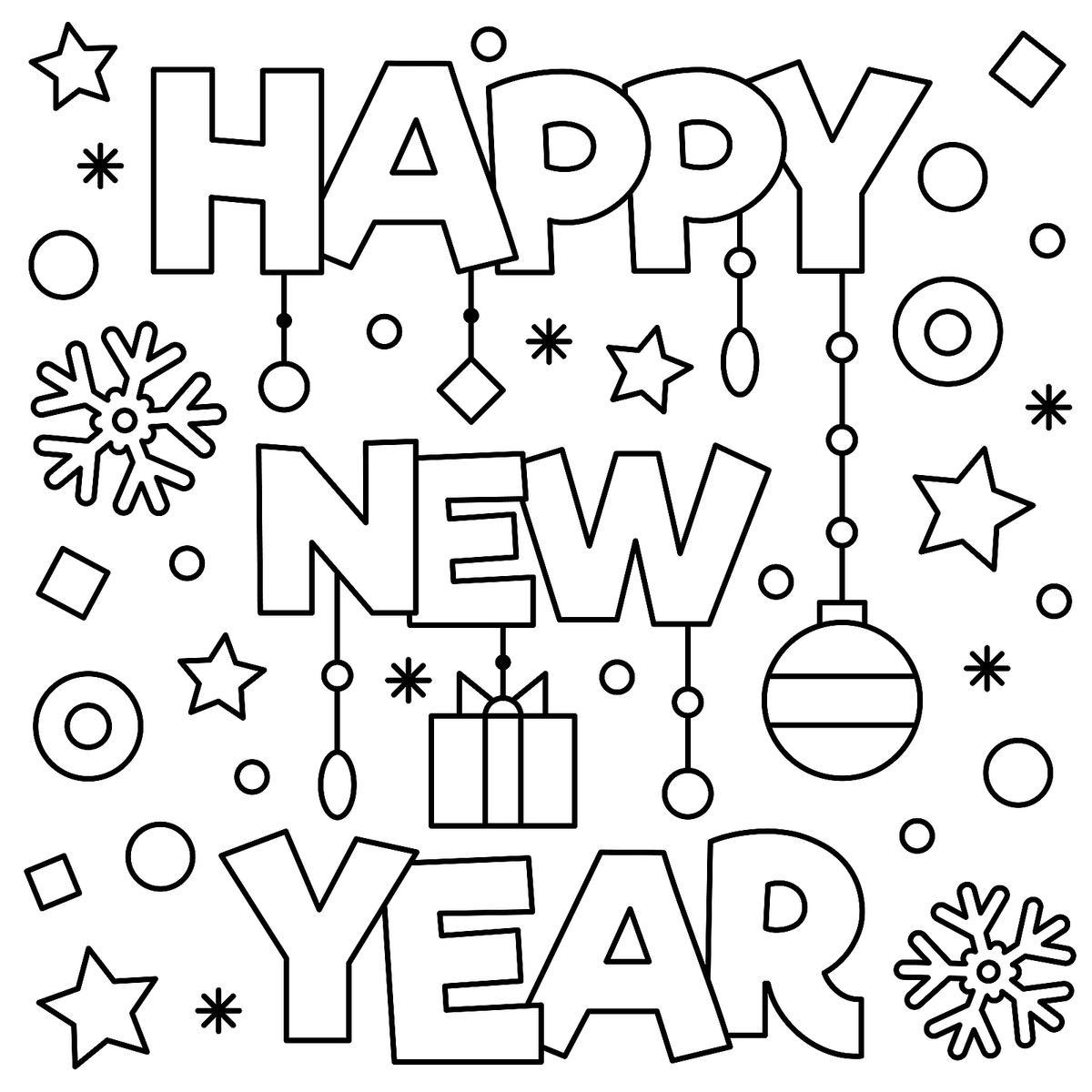 Ano Novo para colorir