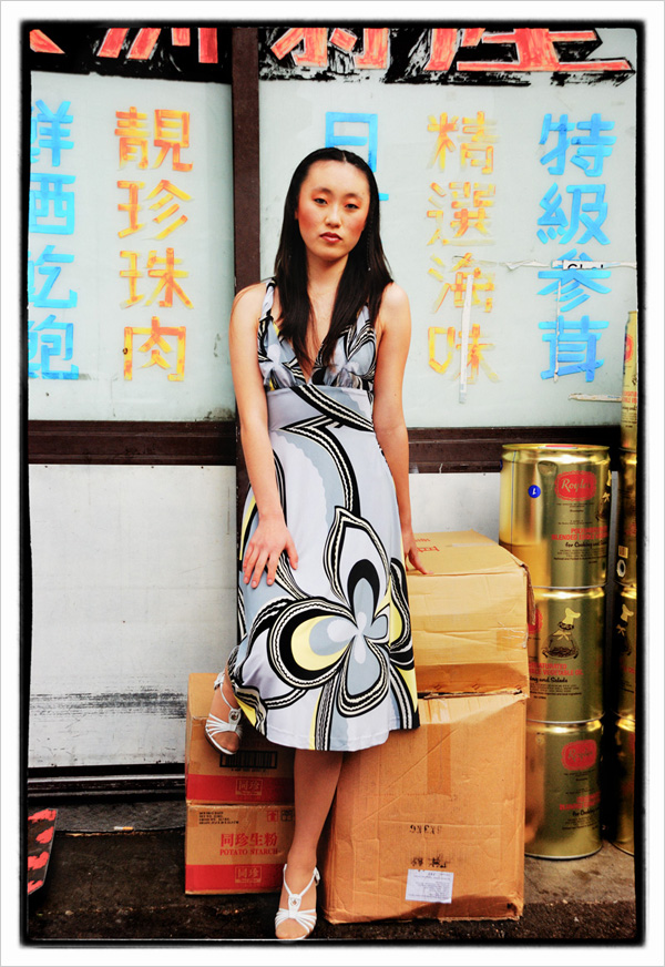 Sunny in Pucci print maxi dress in front of Chinese grocery - Chinatown 2007 New Edition, Photographed by Kent Johnson