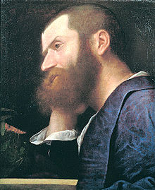 Aretino captured in another portrait  by Titian, painted in 1512