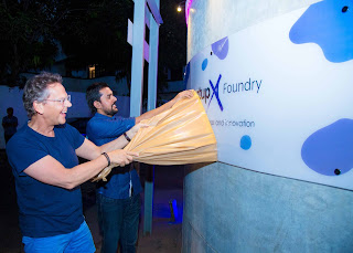 StartupX Foundry Founding Partner Dag Honningvåg and StartupX Foundry Program Manager Aloka Gunasekara unveiling the StartupX Foundry sign