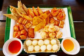 Assorted fried dumplings and balls
