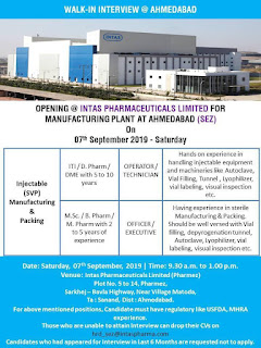Intas Pharma Walk in