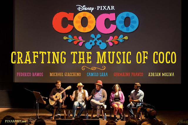 Composers and writers on stage at Pixar for the music of Coco