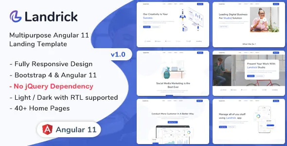 Best Angular 11 Landing Page Template