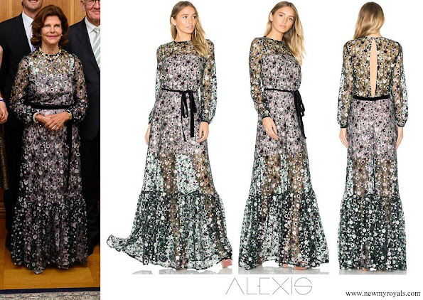 Queen Silvia wore Alexis Holly Sequin Garden Gown