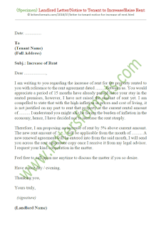 sample landlord letter notice to tenant to increase rent