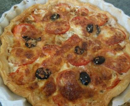 Tomato and goat mushroom pie