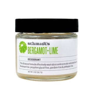 Scmidt's Bergamot and Lime deodorant in a glass jar - perfect stocking stuffer idea for her
