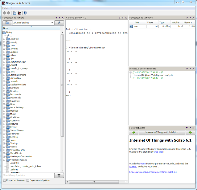 """Scilab - Comment réintégrer le """"Navigateur de fichiers"""" dans la fenêtre principale"""