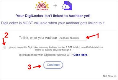 aadhaar number ko digilocker se link kare