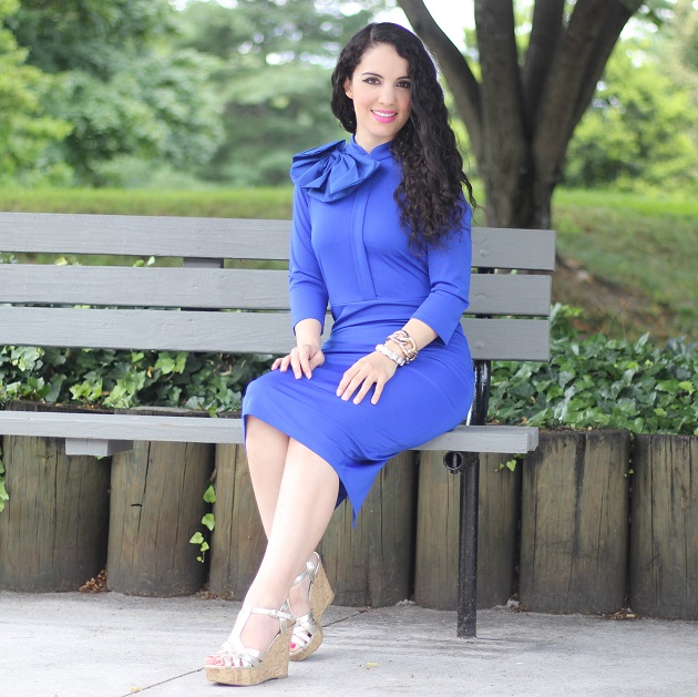 Blue Three Quarter Sleeve Dress