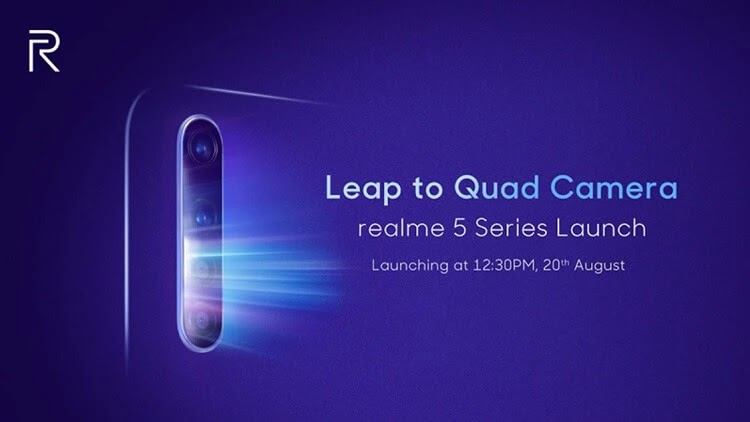 Realme 5 with Quad Cameras to Launch on August 20