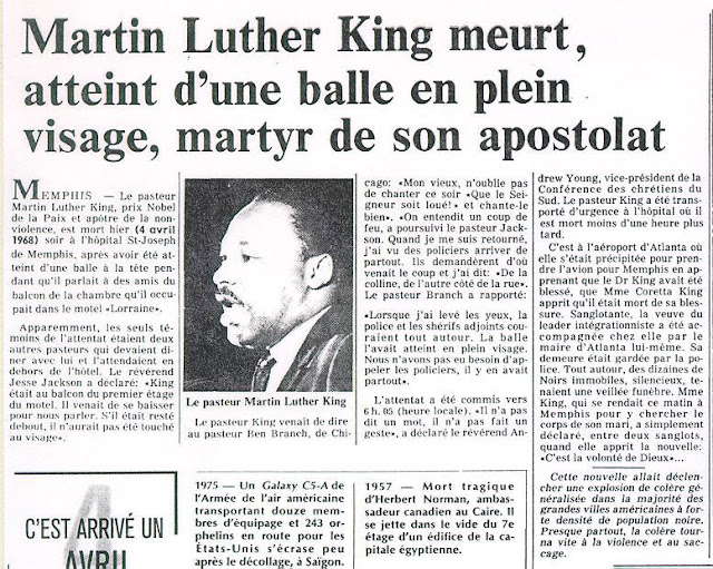 MORT DE MARTIN LUTHER-KING