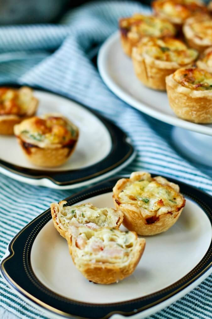 Shrimp Mini Quiche Appetizers on a plate