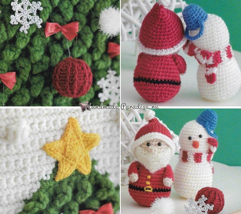 Панно с елочкой и новогодние игрушки крючком (5)