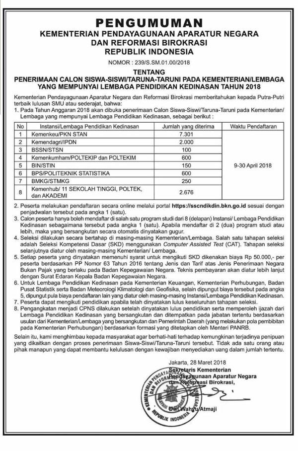 jadwal Pendaftaran PKN STAN Tahun 2018