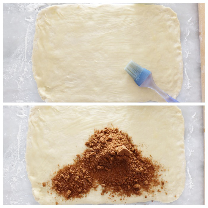 brushing dough with butter and sprinkling filling