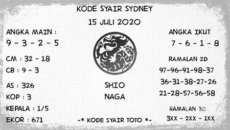Kode Syair Sydney Rabu 15 Juli 2020
