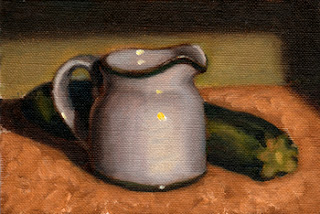 Oil painting of a white porcelain milk jug beside a zucchini.