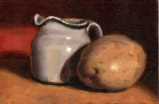 Oil painting of a white porcelain milk jug beside a white potato.