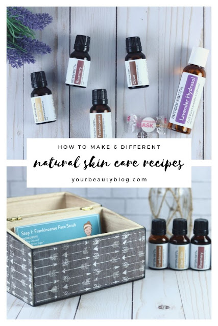 DIY natural skin care recipes with essential oils, aloe vera, apple cider vinegar, honey, and coconut oil. Make a simple skincare routine with homemade face masks, scrubs, acne treatments, and other DIY beauty ideas. Includes 6 simple home remedies and beauty hacks to make the best natural products for your skin. Learn the benefits of using natural ingredients for skin care at home. #essentialoils #skincare