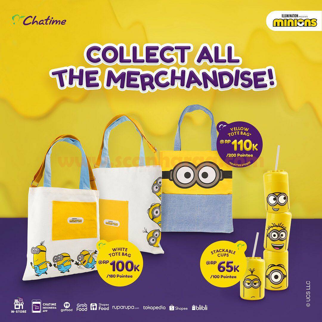Chatime Merchandise Totebag & Stackable Cup Minions – Harga mulai Rp. 65.000