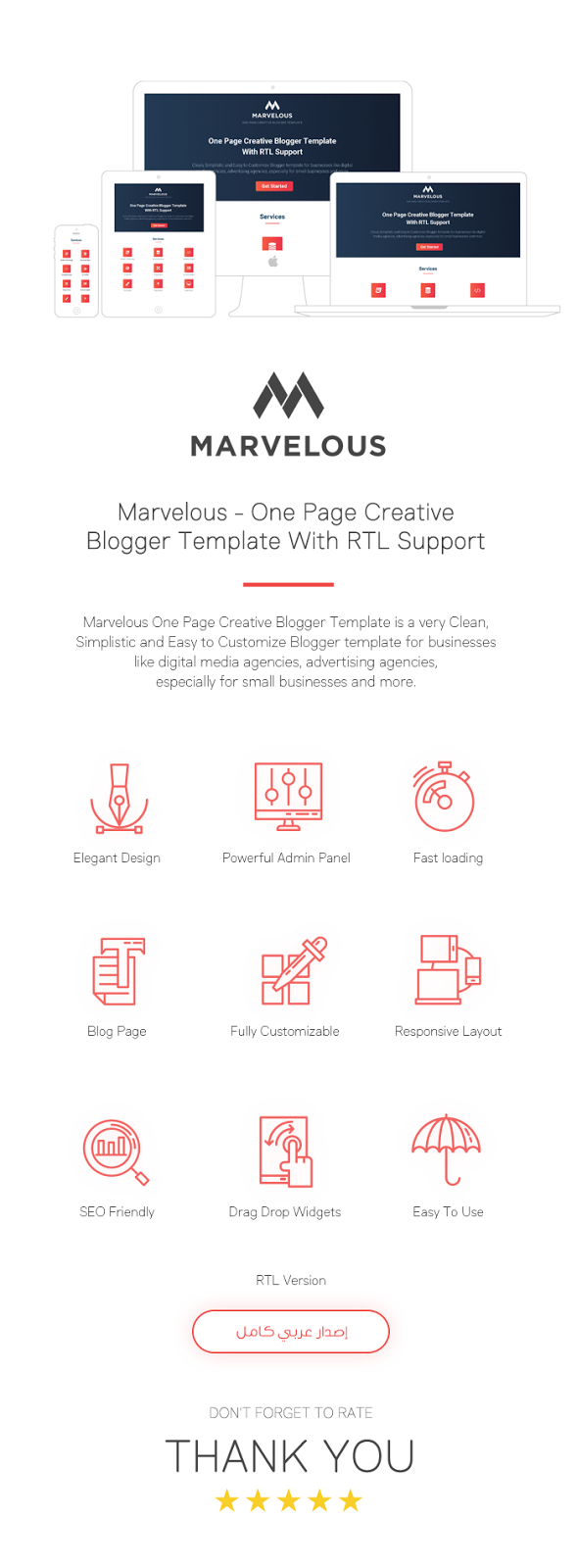 Marvelous - One Page Creative Blogger Template With RTL Support - 1