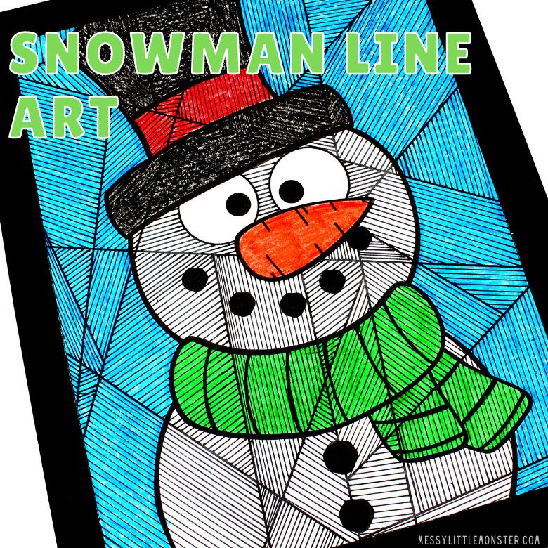 snowman line art for kids