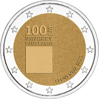 slovenia 2 euroa kolikko ljubljanan yliopisto 100 vuotta 2019
