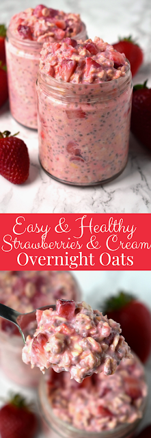 Easy and Healthy Strawberries & Cream Overnight Oats