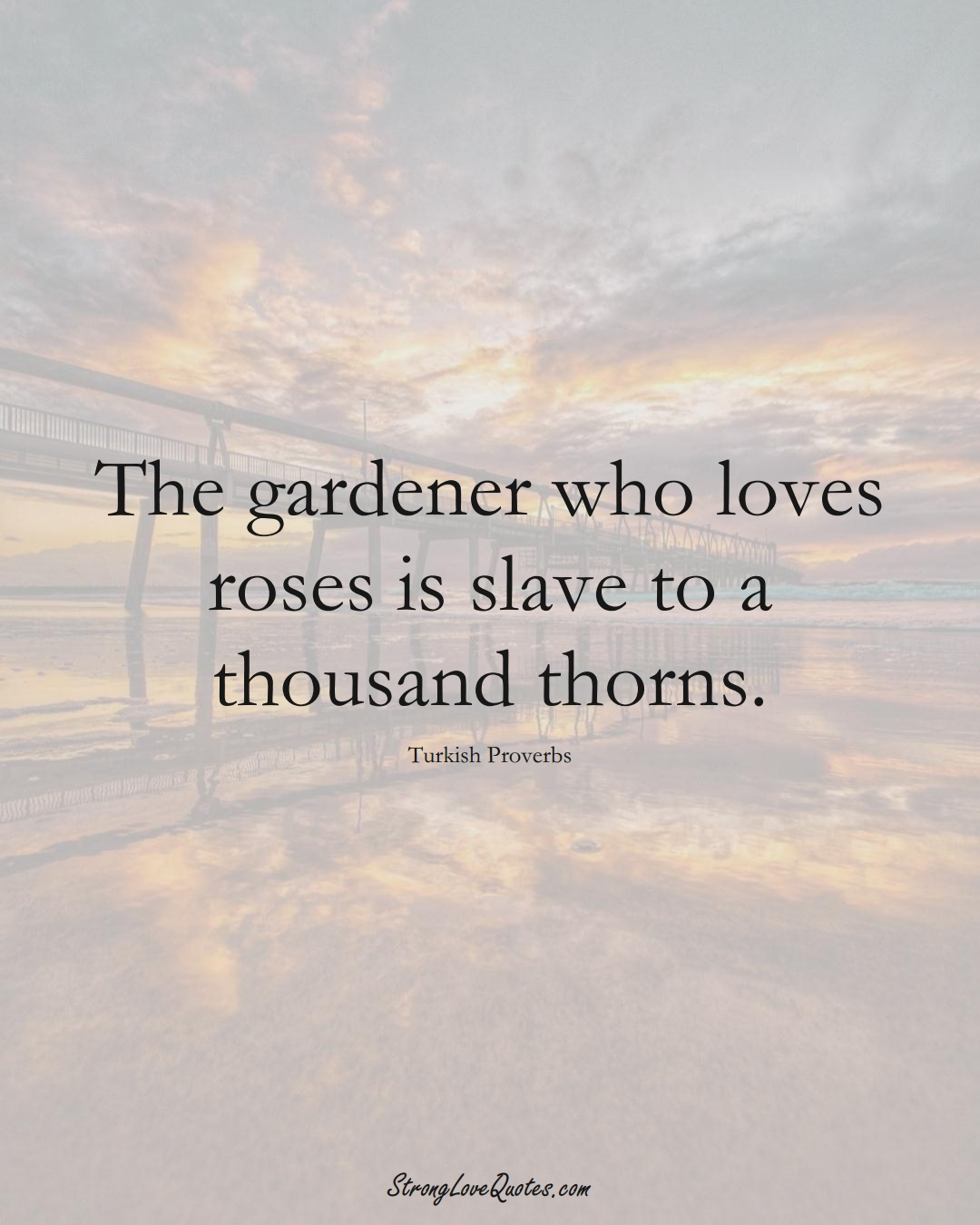 The gardener who loves roses is slave to a thousand thorns. (Turkish Sayings);  #MiddleEasternSayings