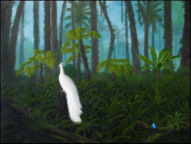 tropic,tropical,rain forest,rainforest,tree ferns,bromeliads,rabbit foot's fern,white peacock,morpho butterfly,green,dark,misty,humid